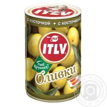 Оливки ITLV зелені з кісточкою 314мл