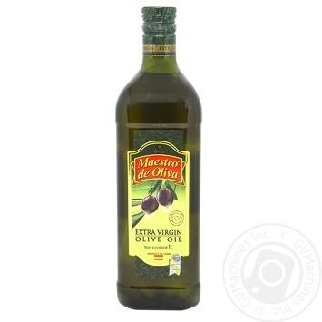 Олія Maestro de Oliva оливкова Екстра Вірджін нерафінована першого холодного віджиму 1л х12 - купити, ціни на МегаМаркет - фото 1