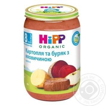 М'ясо-овочеве пюре Hipp Картопля та буряк з яловичиною з 8-ми місяців 220г - купити, ціни на МегаМаркет - фото 1