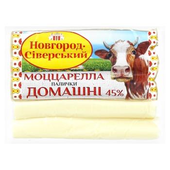 Сир Моцарелла Новгород-Сіверський палички Домашні 45% - купити, ціни на МегаМаркет - фото 1