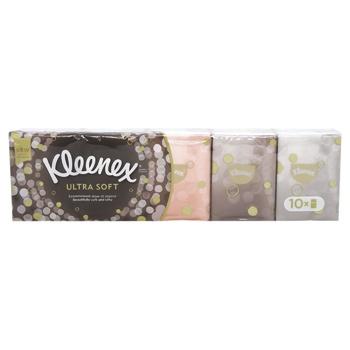 Платки бумажные Kleenex Ultrasoft мини 10х15шт - купить, цены на МегаМаркет - фото 1