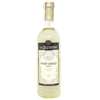 Вино La Cacciatora Pinot Grigio белое сухое 12% 0,75л - купить, цены на МегаМаркет - фото 1