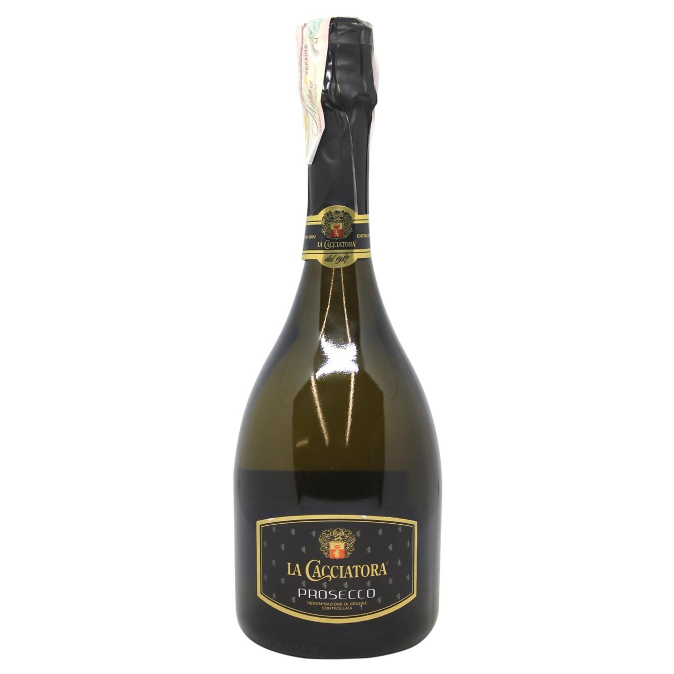Купить 499676, Вино игристое La Cacciatora Prosecco DOC Extra Dry белое сухое 11% 0, 75л