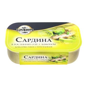 Сардина Fish Line в растительном масле с лимоном 125г