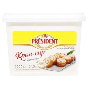 Продукт творожный President Крем-сыр Классический термизированный 24,5% 1кг