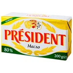Масло President кислосливочное соленое 80% 200г