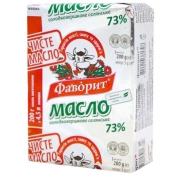 Масло Фаворит Селянське солодковершкове 73% 200г - купити, ціни на Фуршет - фото 1