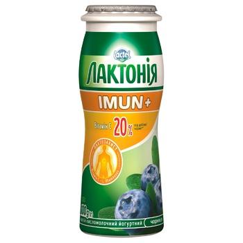 Продукт кисломолочный Лактония черника с пробиотиком L.Rhamnosus и витамином С Имун+ 1,5% 100г - купить, цены на Ашан - фото 1