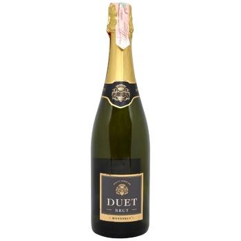Вино Duet Mousseux Brut белое брют 10,5% 0,75л - купить, цены на МегаМаркет - фото 1