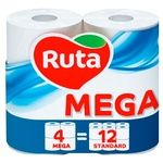 Папір туалетний Ruta двошаровий 4 рулони білий