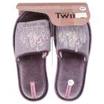 Капці домашні Twins жіночі р.36-37 велюрові з наліпкою ліловий