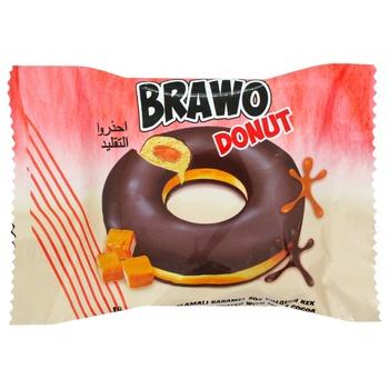 Кекс Brawo Donut з карамельною начинкою у какао-молочнiй глазурi 50г