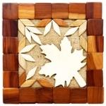 Подставка Kvinstar деревянная вставки-листья
