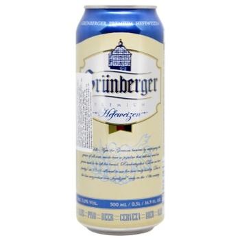Grunberger Hefeweizen light beer can 5% 0,5l