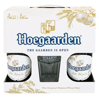 Пиво Hoegaarden White світле нефільтроване 2шт 0,75л + келих 0,33л