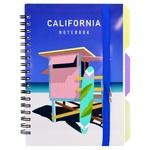 Блокнот Optima California B6 100л пластиковая обложка клеточка