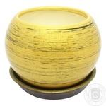 Горшок Пуля глянец золотисто-черный 0,4л - купить, цены на МегаМаркет - фото 1