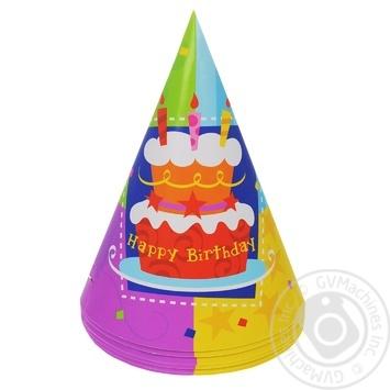 Колпак Веселая Затея Happy Birthday Торт 6шт - купить, цены на Метро - фото 1