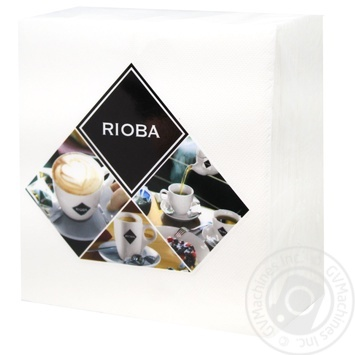Салфетки бумажные Rioba двухслойные белые 33х33см 50шт