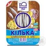 Vodnyi mir light-salted in oil fish sprat 180g