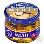 Seafood mussles Vodnyi mir pickled 250g glass jar