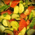 Salad of tomatoes and cucumbers