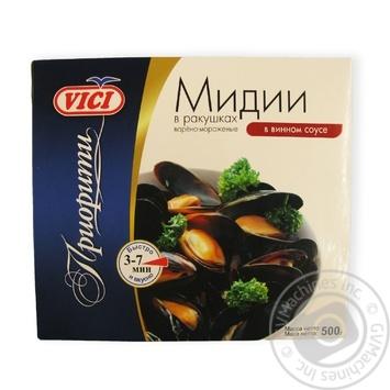 Мидии Vici в ракушках варено-мороженые в винном соусе 500г
