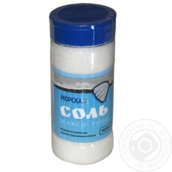 Сіль Marko Polo харчова морська дрібна в ПЕТ-солонці 0,5кг