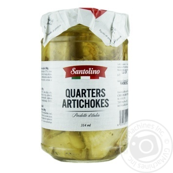 Артишоки четвертинками в олії зі спеціями консервовані пастеризованіSantolino 180мл
