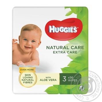 Салфетки влажные Huggies Natural Care Extra Care детские с алоэ вера 3х56шт - купить, цены на Восторг - фото 1