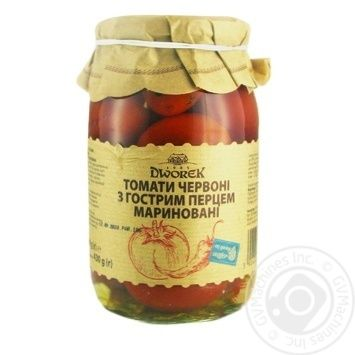 Vegetables tomato Dworek-1905 with chili pepper pickled 880g glass jar Poland - buy, prices for Novus - image 1