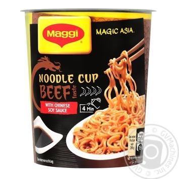 Лапша быстрого приготовления Maggi  со вкусом говядины и соевым соусом не острая 63г