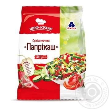 Смесь овощная Рудь Шеф-повар Паприкаш быстрозамороженная 400г - купить, цены на Novus - фото 1