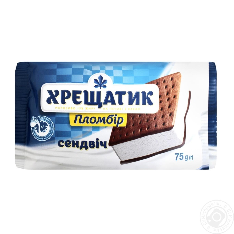Хрещатик / Мороженое пломбир Крещатик на печенье с какао 75г