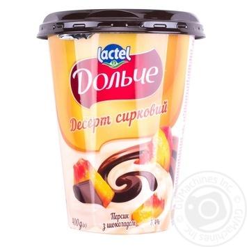 Десерт творожный Дольче Персик-Шоколад 3,4% 400г - купить, цены на МегаМаркет - фото 1