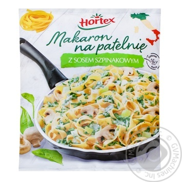 Макарони для смаження зі шпинатним соусом Hortex 450г - купити, ціни на Ашан - фото 1