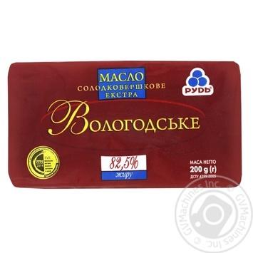 Масло Рудь Вологодське солодковершкове екстра 82.5% 200г - купити, ціни на Восторг - фото 1