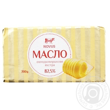 Масло сладкосливочное Novus Экстра 82,5% 200г - купить, цены на Novus - фото 1