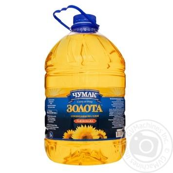 Масло Чумак Золотое подсолнечное рафинированное 5л - купить, цены на МегаМаркет - фото 1