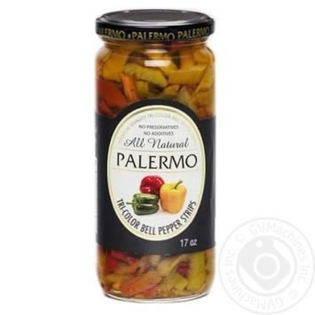 Перець солодкий Palermo Tri-Color нарізаний пастеризований 500мл