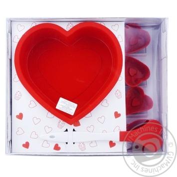 Набір силіконових форм для випічки (кекс Серце,мафіни Серце-6шт,лопатка) - купити, ціни на Novus - фото 1