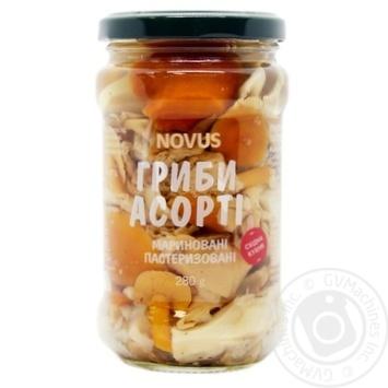 Асорті з грибів маринованих Novus 280г - купить, цены на Novus - фото 1