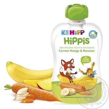 Пюре фруктовое HiPP Hippis морковь-манго-банан для детей с 4 месяцев 100г - купить, цены на Ашан - фото 1