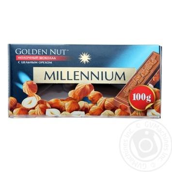 Шоколад молочный Millennium Golden Nut с цельными лесными орехами 90г - купить, цены на Фуршет - фото 1