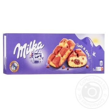 Печенье Milka Soft&Choc бисквитное с шоколадной начинкой и кусочками молочного шоколада 175г