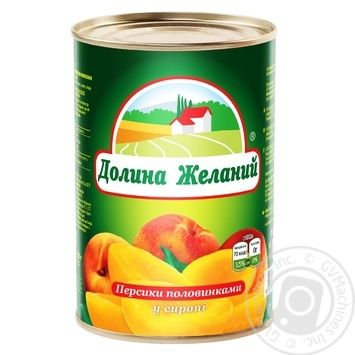 Персики Долина Желаний половинками в сиропе 850мл - купить, цены на Novus - фото 1
