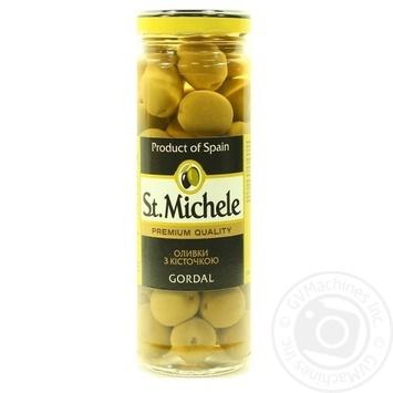 Оливки зеленые St.Michele Gordal с косточкой 340мл - купить, цены на Novus - фото 1