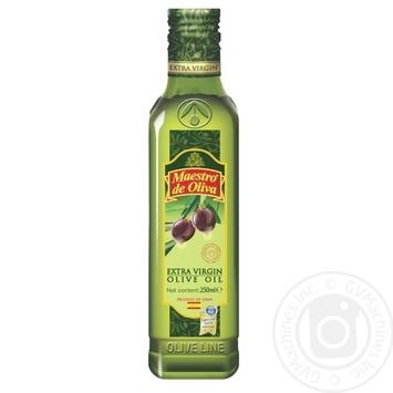 Масло Маэстро де Олива оливковое нерафинированное экстра вирджин первого холодного отжима 250мл - купить, цены на МегаМаркет - фото 1