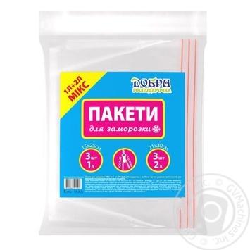 Пакети для заморозки МІКС Добра Господарочка ,1л + 2л, 15х25 см - 3шт, 21х30 см - 3шт - купить, цены на Novus - фото 1