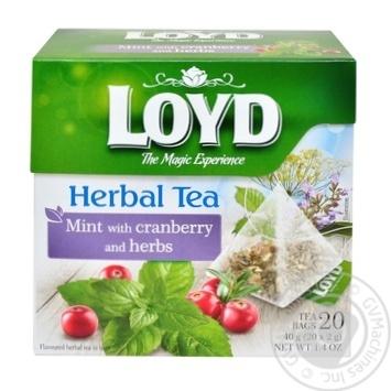 Чай травяной Loyd мята с клюквой и травами 2г*20шт - купить, цены на Novus - фото 1